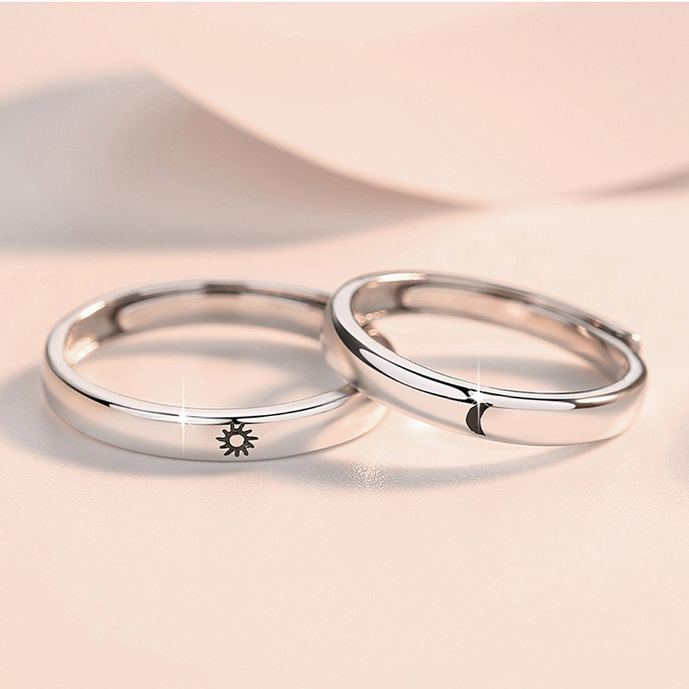 1 Pair Simple Opening Sun Moon Ring Minimalist Silver Color Adjustable Ring Trendy Men Women Couple Jewelry Engagement Ring