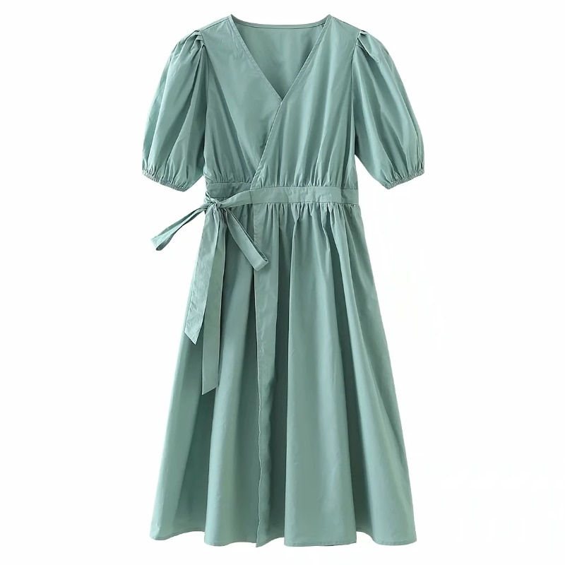Cross V Neck Bowknot Solid Wrap Dress Women Summer 2020 Stylish Short sleeve Woman Dresses Femme Loose Clothing D5773