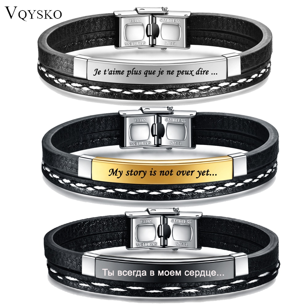 Customizable Leather Bracelets for Men Women Name Text Logo Engraving Stainless Steel Casual Personalized Jewelry Bracelet New