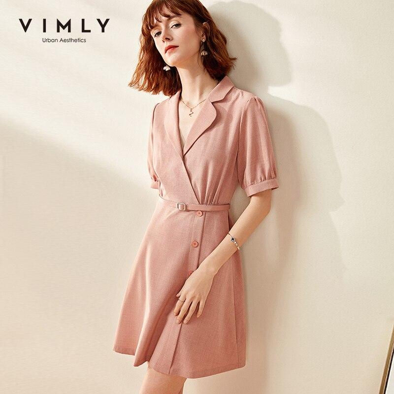 Vimly, verano 2020, mujeres, Vintage, vcuello, camisas, vestido, oficina, señora, elegante, cintura alta, cinturón, manga de linterna, minivestido femenino F0701
