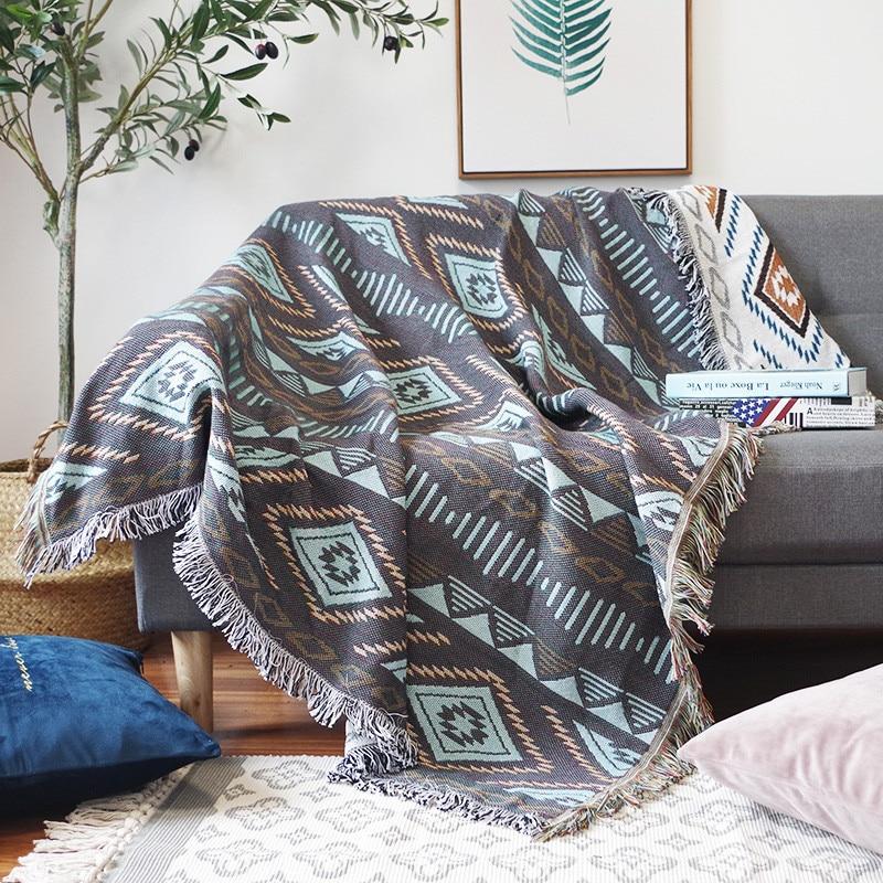 European Geometry Throw Blanket Sofa Decorative Slipcover Cobertor On Sofa/beds/plane Travel Plaid Non-slip Stitching Blankets