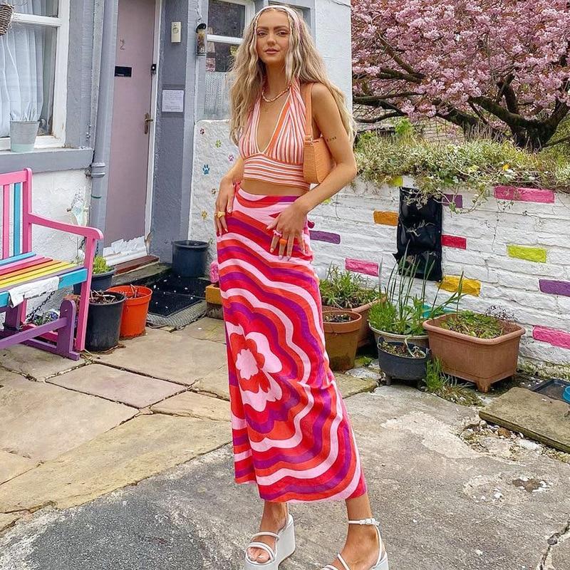 letter print split side night dress Women Summer Half Dress, Striped Print Side Split Straight High-Waist Slimming Long Skirt
