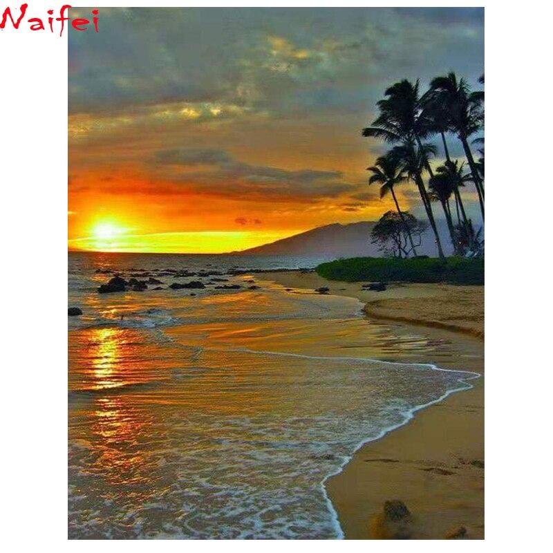 Cuadrado completo redondo diamante pintura playa bordado de diamante paisaje venta puesta de sol paisaje punto de cruz cristal diamante conjuntos diy