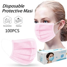 100 Pcs Pink Good Quality Disposable 3-ply Breathable Face Ma Sk For Lips Care Ear Loops Disposable