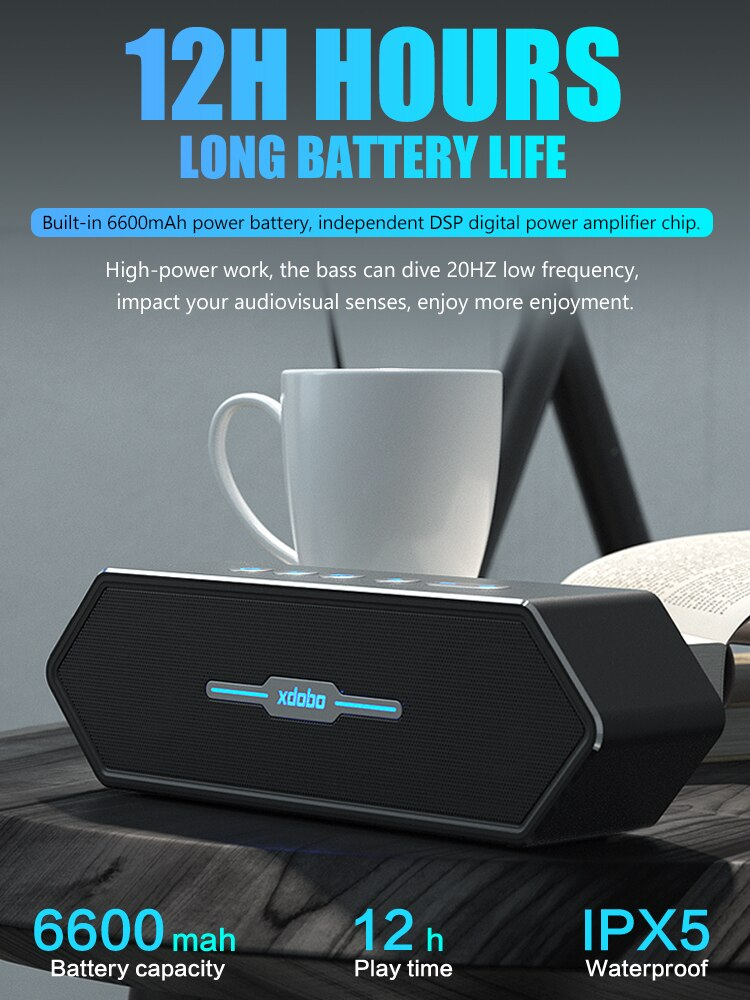 XDOBO Portable Caixa De Som Bluetooth Speaker Subwoofer Waterproof Wireless Speakers Gaming-speaker for Comeputer Music Center enlarge