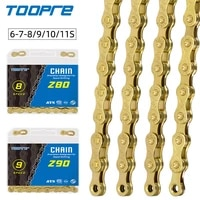toopre road mtb part golden bicycle chain 6 7 8 9 10 11speed velocidade mtb chains 116l gold missing link full plating anti rust