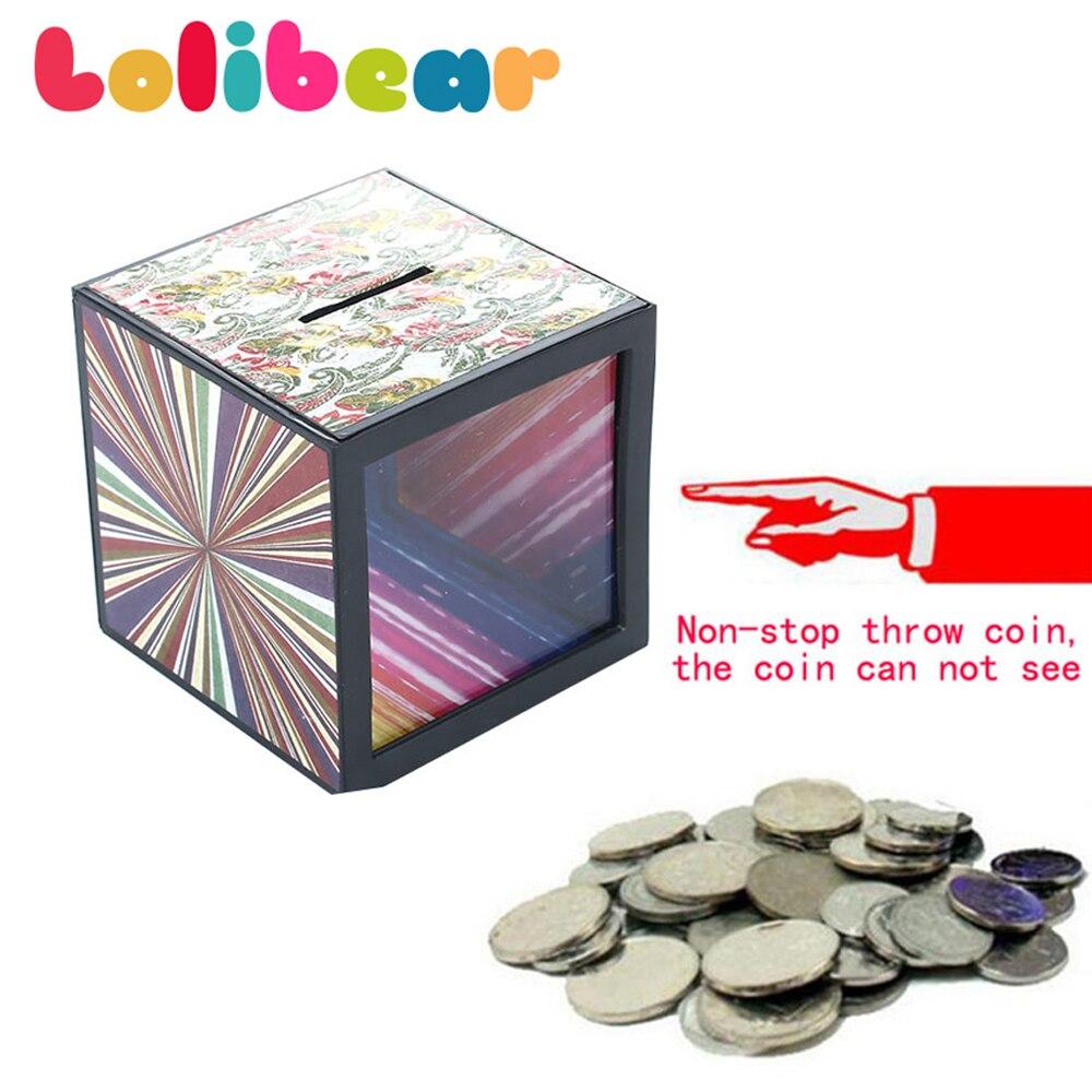 Caja de dinero de trucos de Magia cerca de Magia Piggy banco de juguete caja de misterio Magie mentalismo accesorios para trucos de ilusionismo broma juguete para los niños
