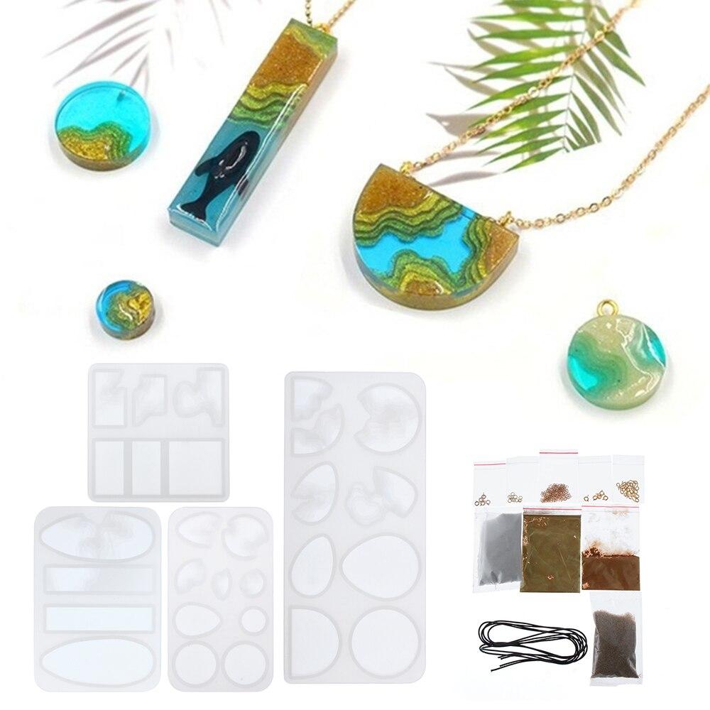 1pc Mini Island Crystal Epoxy Mold DIY Pendant Jewelry Crafts Making liquid Silicone Mould craft tool