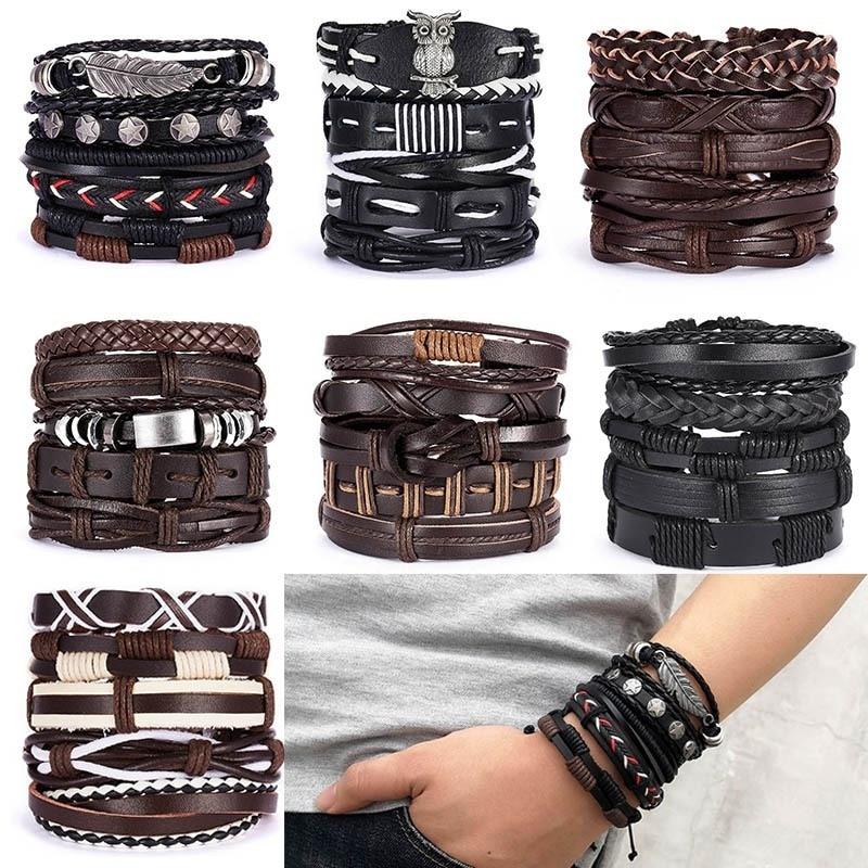 Folha do vintage pena multicamadas pulseira de couro moda masculina trançado artesanal stsr corda wrap pulseiras & pulseiras presente masculino