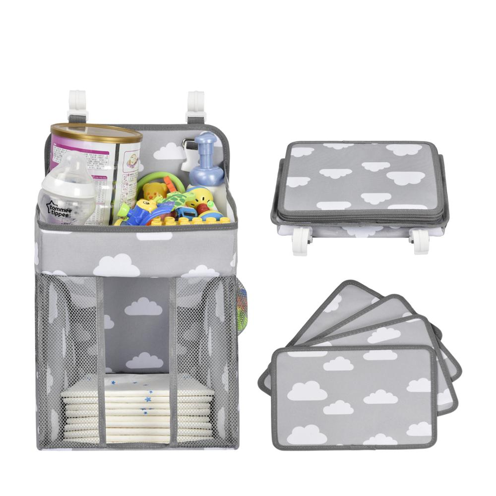 Baby Crib Hanging Storage Bag Diaper Nappy Organizer Cot Bed Organizer Bag Infant Essentials Diaper Caddy Kids Crib Bedding Sets