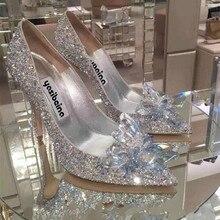Chaussures cendrillon cristal pour femmes, chaussures de mariée Sexy, à talons hauts, strass argentés, collection