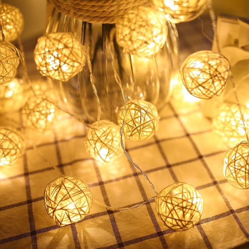 Гирлянда из ротанга, светодиодная для украшения дома, новогодние и рождественские украшения, 1,5 м, 10 светодиодный, 3 см недорого