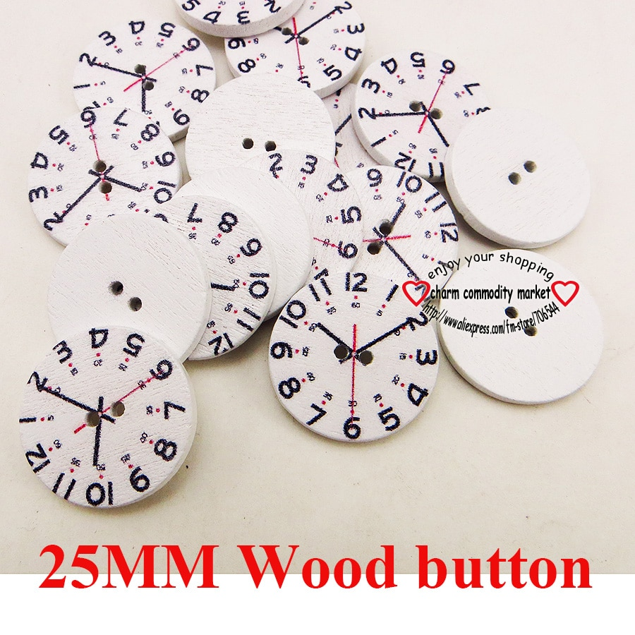 30 PCS watch face painting 25MM wooden button 2 hole  boots coat sewing clothes accessory brand butt