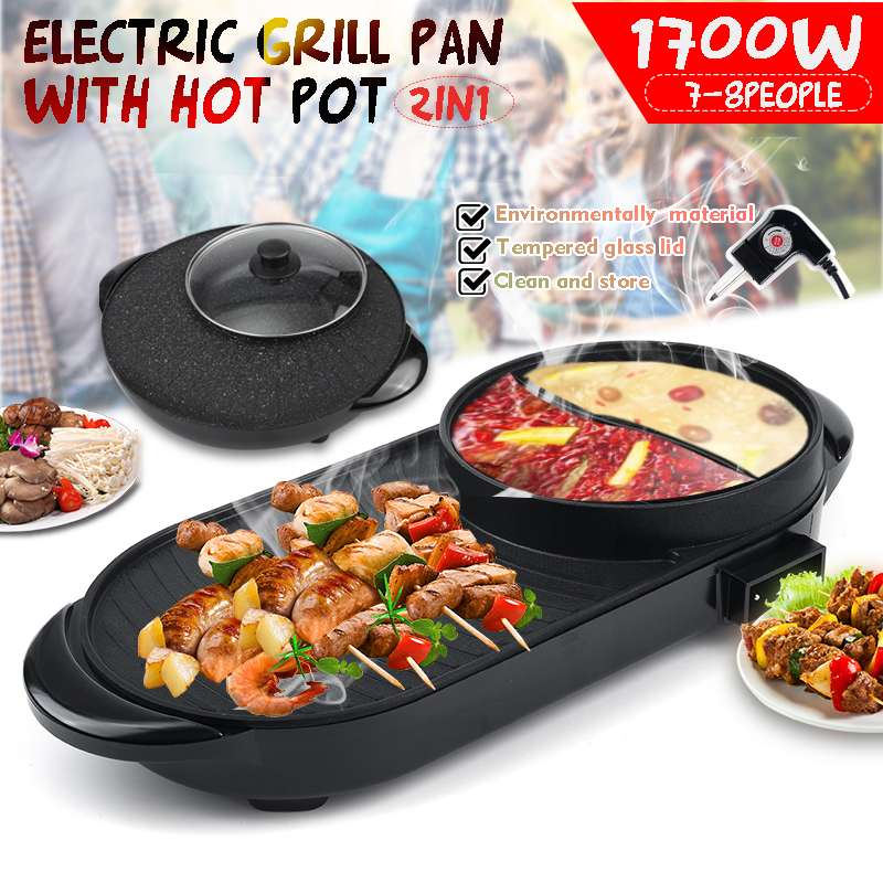 1600w electric shabu roasted pot multifunctional electric pan grill bbq grill raclette grill electric hotpot with grill pan 2in1 Portable Electric Grill Hot Pot Oven 5 Temperature Adjustments Home BBQ Smokeless Grill Chafing Dish Non-Stick Pan
