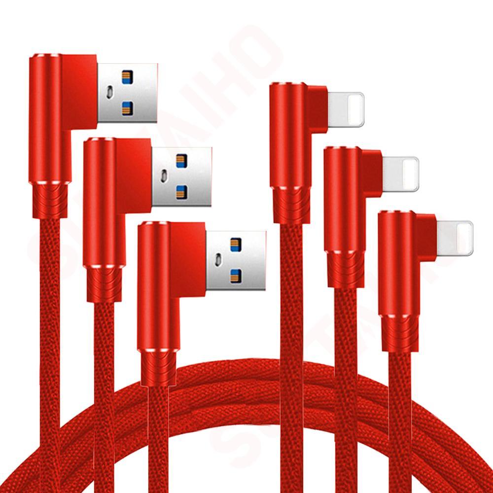 3 Pack cargador de iPhone de 90 grados rápida Cable de carga...