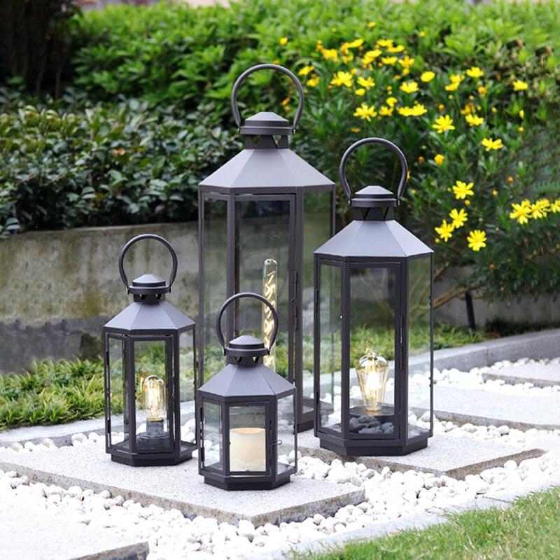 Hanging Glass Candle Holders Metal Lantern Vintage Nordic Hurricane Candle Holders Wedding Outdoor Porta Velas Home Decor 60