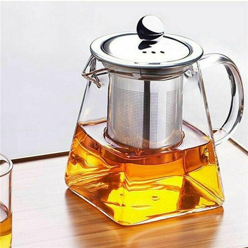 Jarra de tetera de vidrio transparente resistente al calor con Infusor de café té hoja tetera de hierbas flor tetera 350ML 550ML 750ML tetera jarra de agua