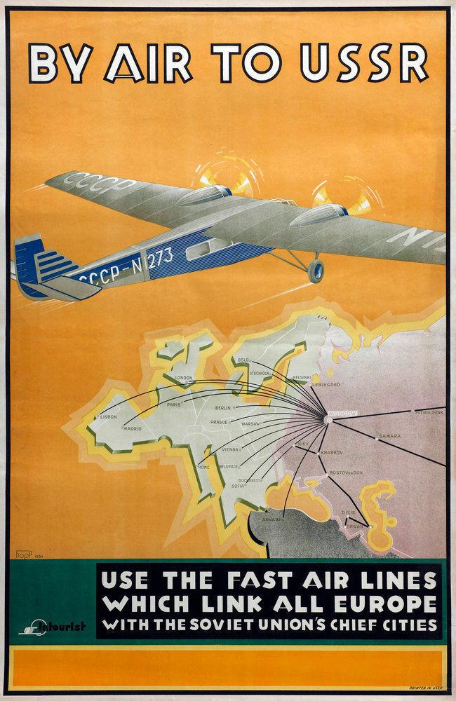 Cartel de hojalata de viaje, placa de pared de aire a URSS