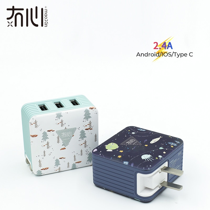 Maoxin wand ladegerät adapter 3ports usb reise UNS faltbare stecker 5V 2,4 EINE 5V1A lade für iphone X 8 7 ipad Samsung Huawei