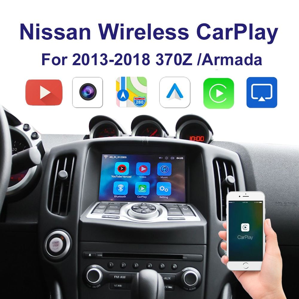 Promo Wireless CarPlay&Android Auto Adapter interface for 2013-2018 Nissan  Elgrand 370Z Multimedia iPhone Android Wireless Kit