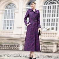 office lady double breasted embroidery long coat chinese style windbreaker dobby full length overcoat runway pockets dz2597