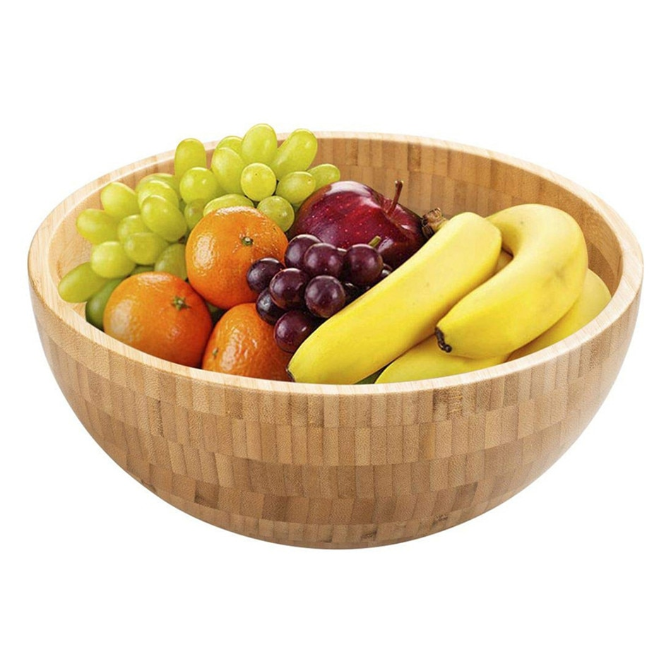 VOGVIGO Round Wooden Bowl Soup Salad Noodle Rice Fruit Food Container Shock-proof Holder Children Bamboo Large Mask Bowl