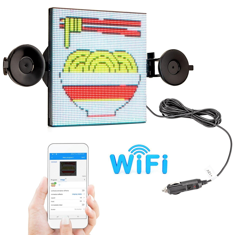 12 В Wi-Fi светодиодная матрица Автомобильный знак светодиодный экран RGB Полноцветный дисплей ваши пользовательские сообщения вывески Сделай ...