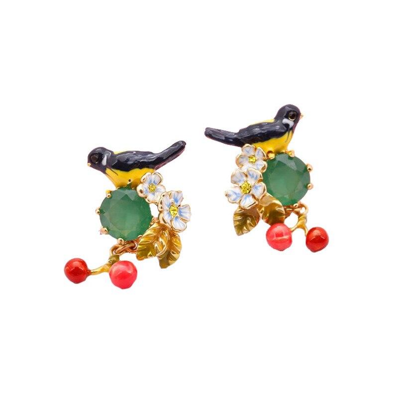 New arrivals Electroplated enamel glazed oriole bird emerald gemstone cherry pendant earrings earrings