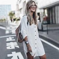 cotton shirt style beach jacket vacation sun protection clothing bikini blouse womens swimsuit with cardigan sleeve lengthcm