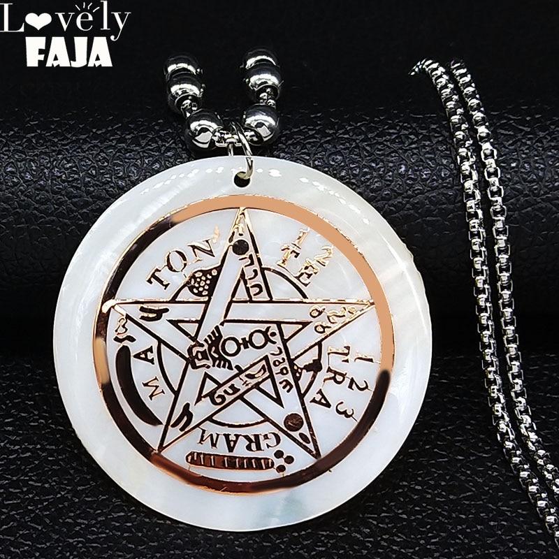 2020 brujeria Ouija pentagrama Concha Acero inoxidable collar mujer Color oro rosa cadena larga collar joyas N20092