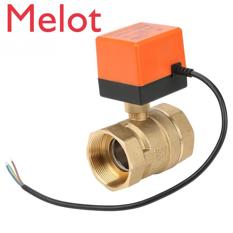 1 válvula motorizada CA 220V Valvula electrica G2 DN50 2 vías 3 cables 2 puntos de Control de latón válvula de bola eléctrica motorizada
