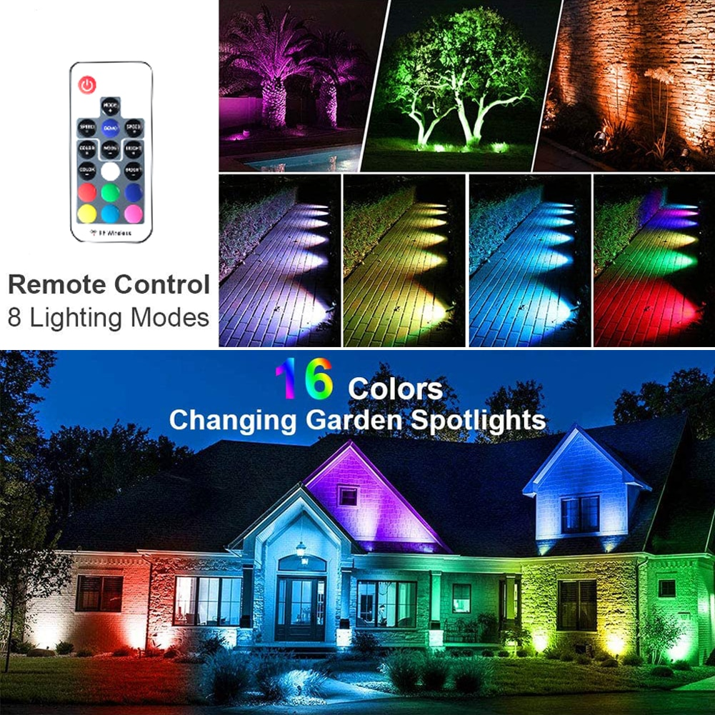 6 In 1 LED Garden Spotlights 6 Colours Changing With Remote Control Outdoor Waterproof Spike Lights Garden Path Landscape Lamp enlarge