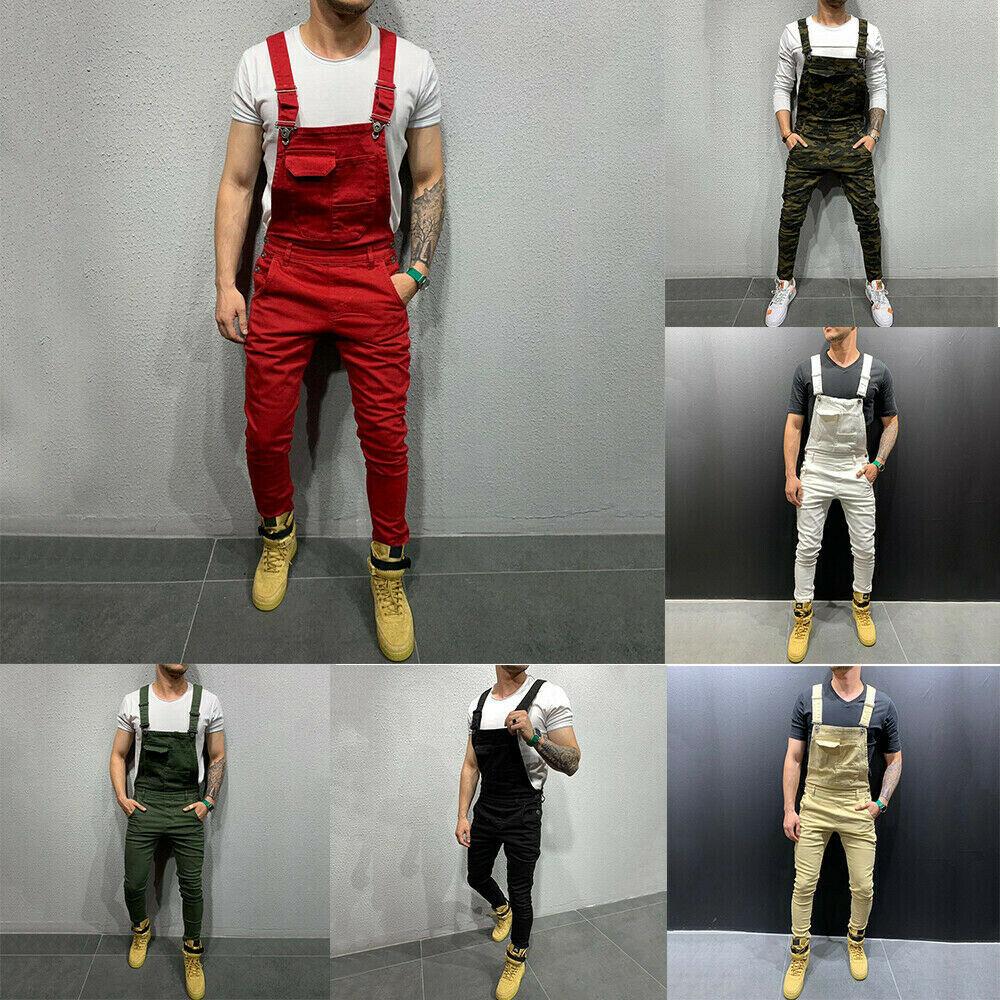 Мужские облегающие джинсовые комбинезоны, брюки с подтяжками, обтягивающие джинсовые комбинезоны