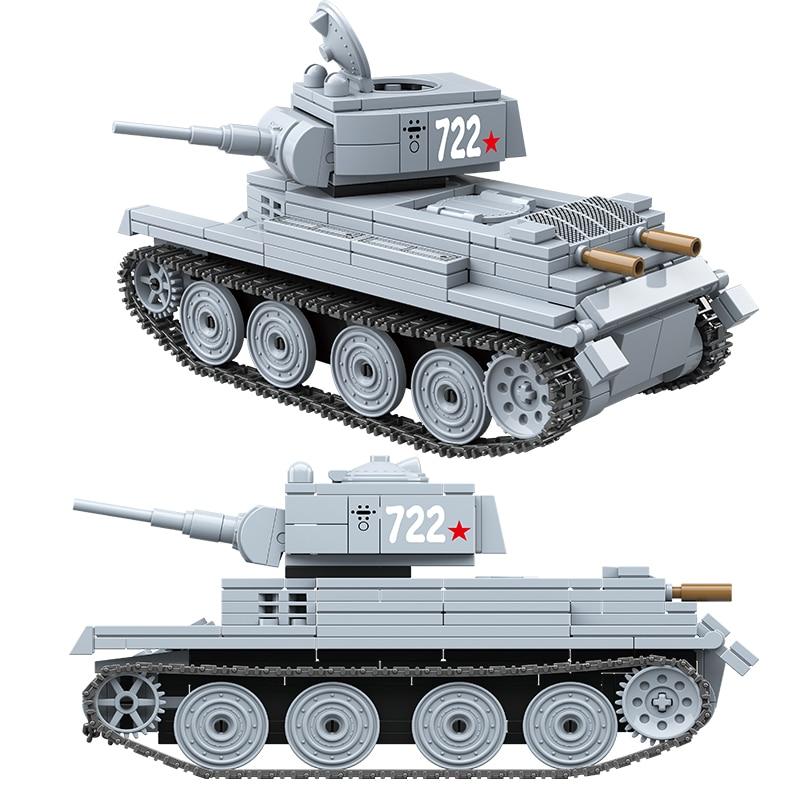 Military BT-7 Light Tank Building Blocks Russia Soviet Tanks Bricks WW2 Army Police Soldier Weapon City Children Kids Toys Gifts