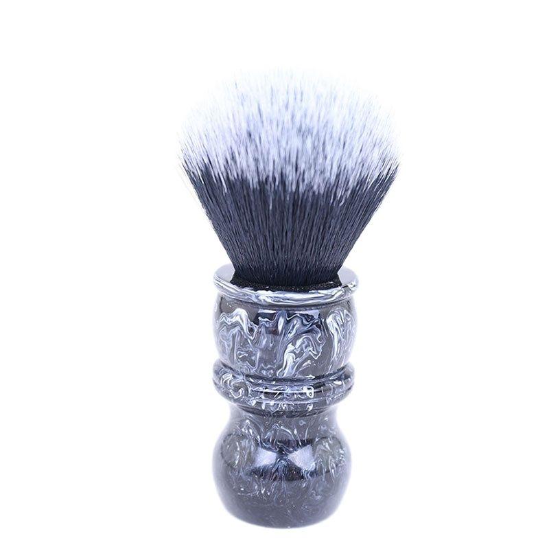 yaqi 24mm moka express synthetic hair shaving brush Yaqi 24MM Tuxedo Black and White Tip Synthetic Hair Marble Color Resin Handle Barber Shaving Brush