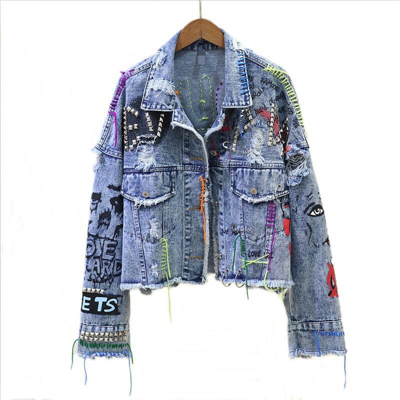 Новинка 2021, женская джинсовая куртка, Демисезонные женские джинсовые куртки с граффити, модная верхняя одежда для девочек, пальто