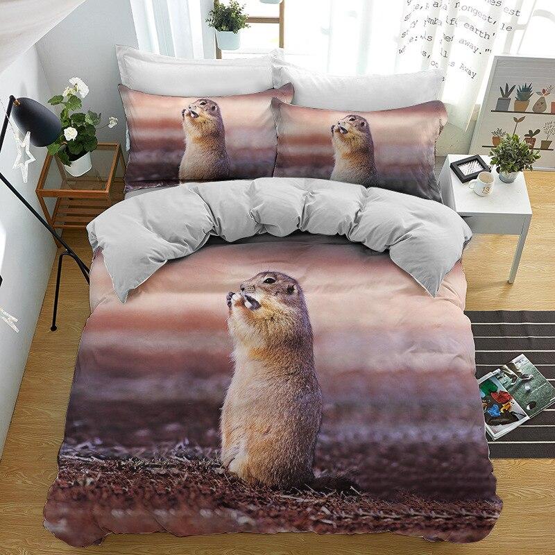 2/3 قطع طقم سرير السنجاب جميل لطيف الحيوانات حاف الغطاء ستوكات النسيج السرير غطاء لحاف واحد مزدوج طقم ملاءة سرير