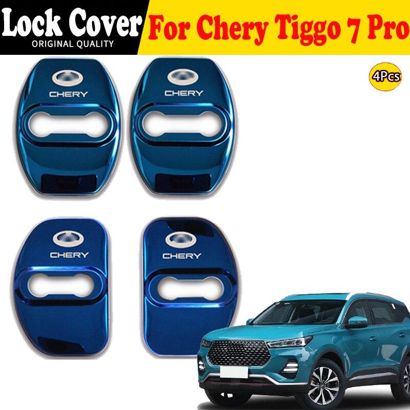 Auto Car Door Lock Cover Emblems Case Stainless Steel For Chery Tiggo 7 Pro 2020 2021 Film Interior