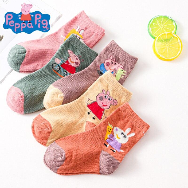5 Paires = 10 Uds. Calcetines Peppa Pig calcetines gruesos de algodón para niños 2-5 años de edad patrón de dibujos animados del chico para el otoño y el invierno del calcetín del bebé