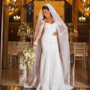New Long Sleeves Lace Mermaid Wedding Dress 2020 Bridal Gown Beading V Neck Sweep Train Black Bride Custom Made Plus Size