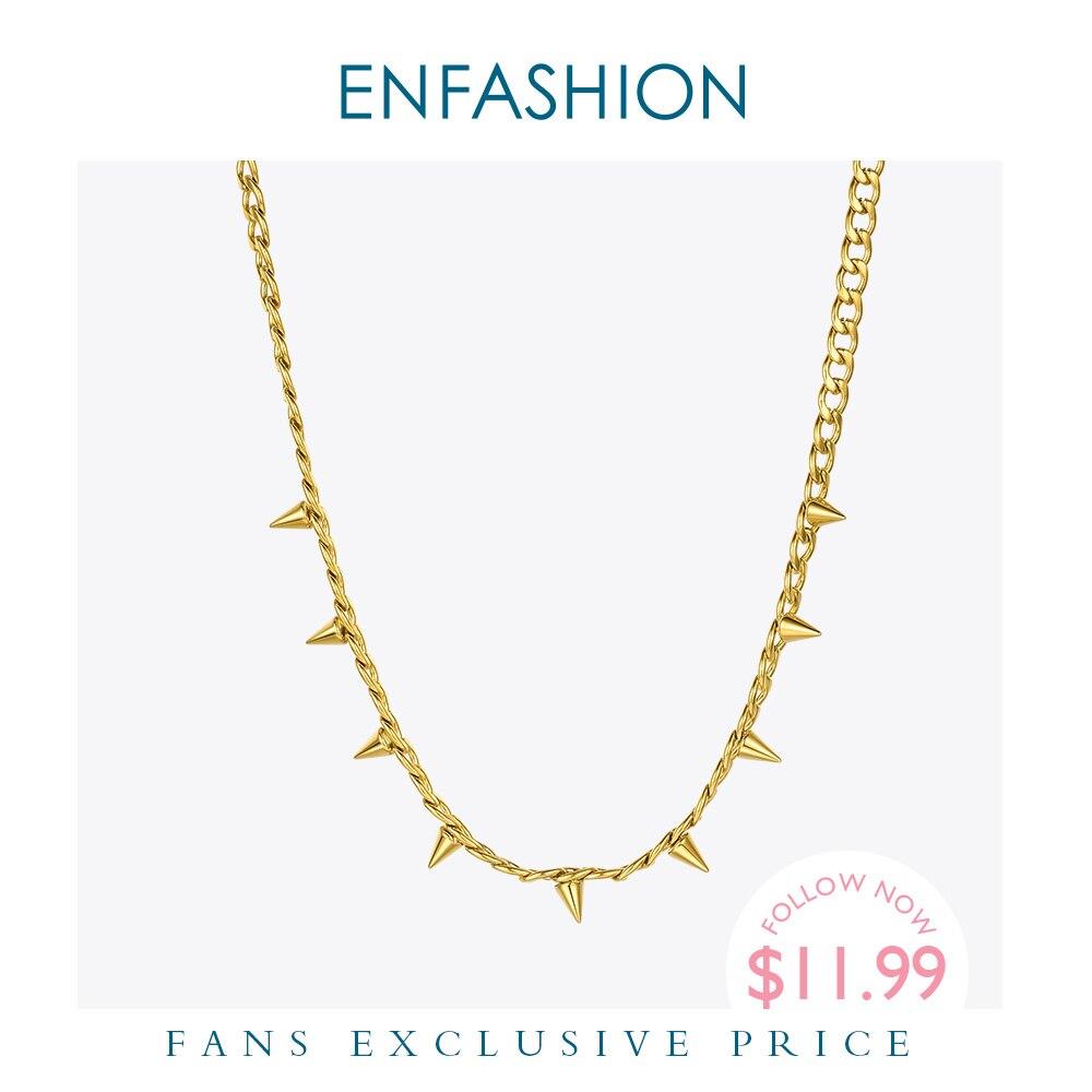 ENFASHION, collar con colgante de puntas Punk para mujer, cadena de Rock de acero inoxidable y Color dorado, gargantilla de hip hop, collares, joyería de moda P3091