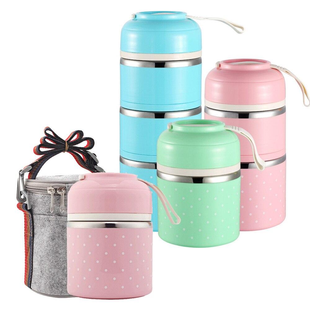 Fiambrera térmica japonesa para contenedores de comida, fiambrera térmica portátil, fiambrera bonita Bento a prueba de fugas de 2 a 3 capas