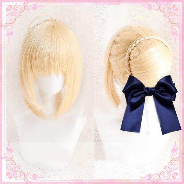 Fate stay night altria pendragon sabre cosplay peruca jogo anime fgo fate grand order resistente ao calor cosplay perucas + arco hairpins