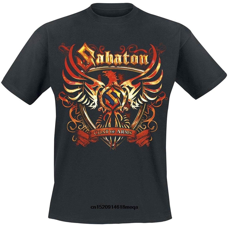 funny t shirts Mens T-Shirt Sabaton Coat Of Arms T-Shirt black Men's cotton Black T shirts Printed on both sides