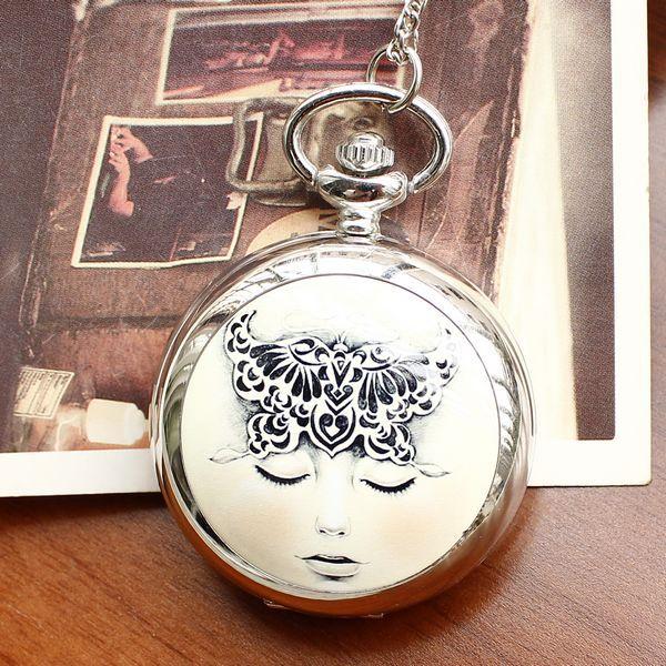 Retro Style Men and Women Pocket Watch Necklace Quartz Pocket Watch Fashion Fantasy Girl Ceramics Women and Children Reloj Mujer