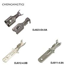 50 pcs 4.8 mm male female auto crimp wire terminal loose electrical connector brass pins DJ623-E4.8A  DJ612-4.8B DJ611-4.8A