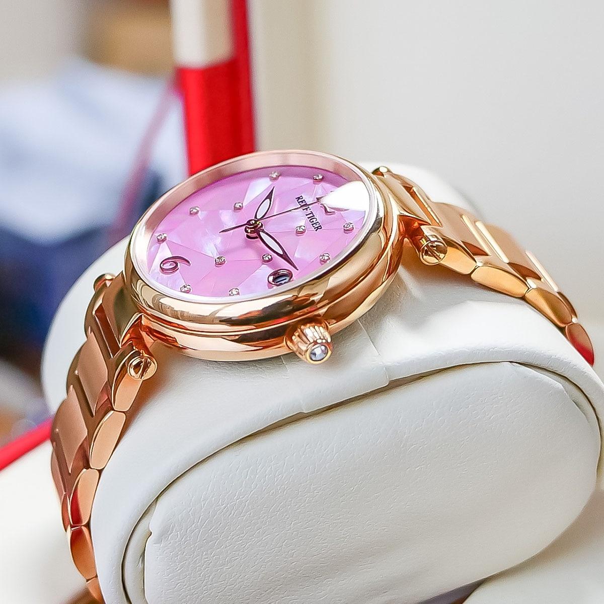 Reef Tiger/ RT Pink Dial Rose Gold Luxury Fashion Diamond Women Watches Stainless Steel Bracelet Mechanical Watch RGA1584 enlarge