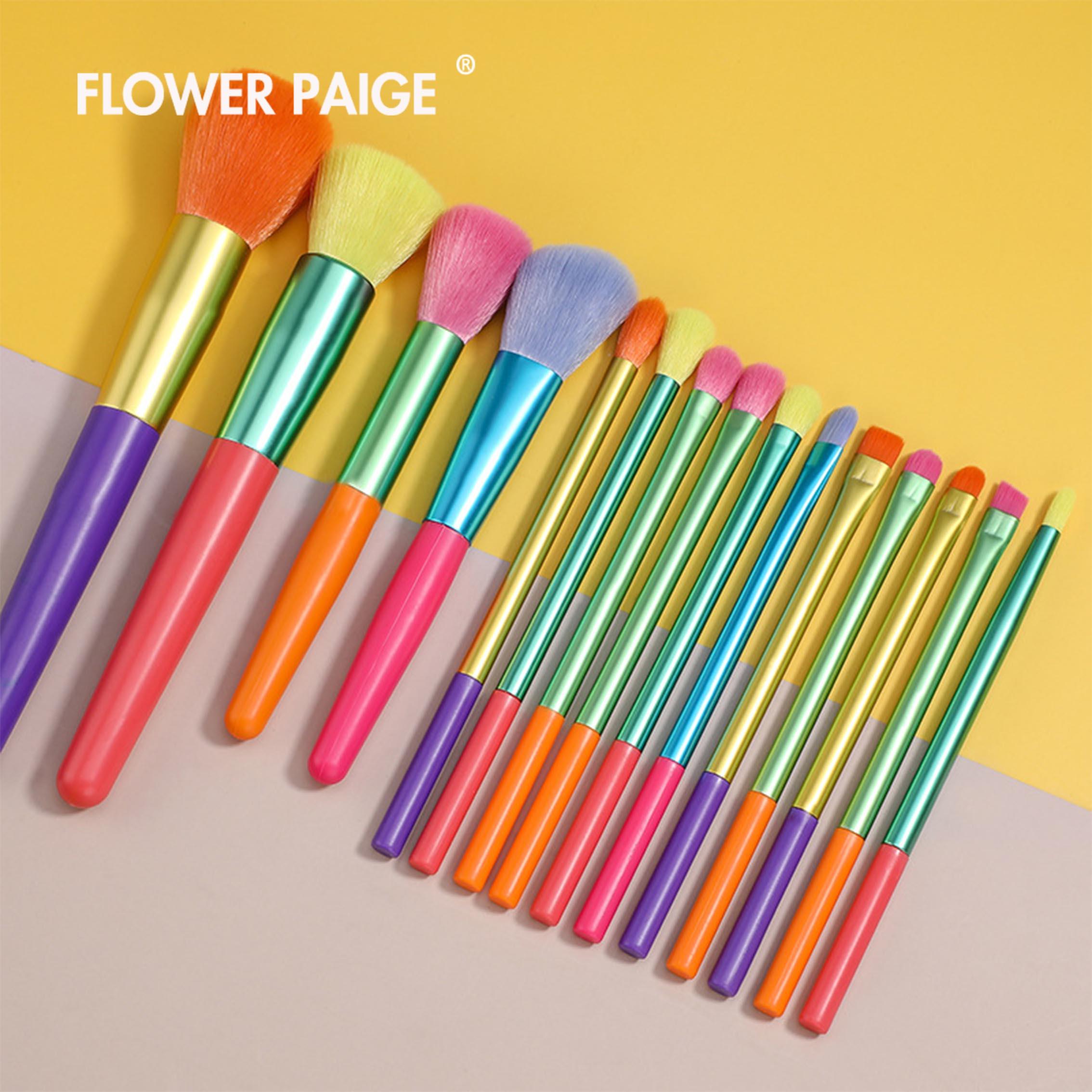 rainbow Makeup Brush Set FLOWER PAIGE Makeup Brushes 15 Pcs Premium Synthetic Foundation Blending Fa