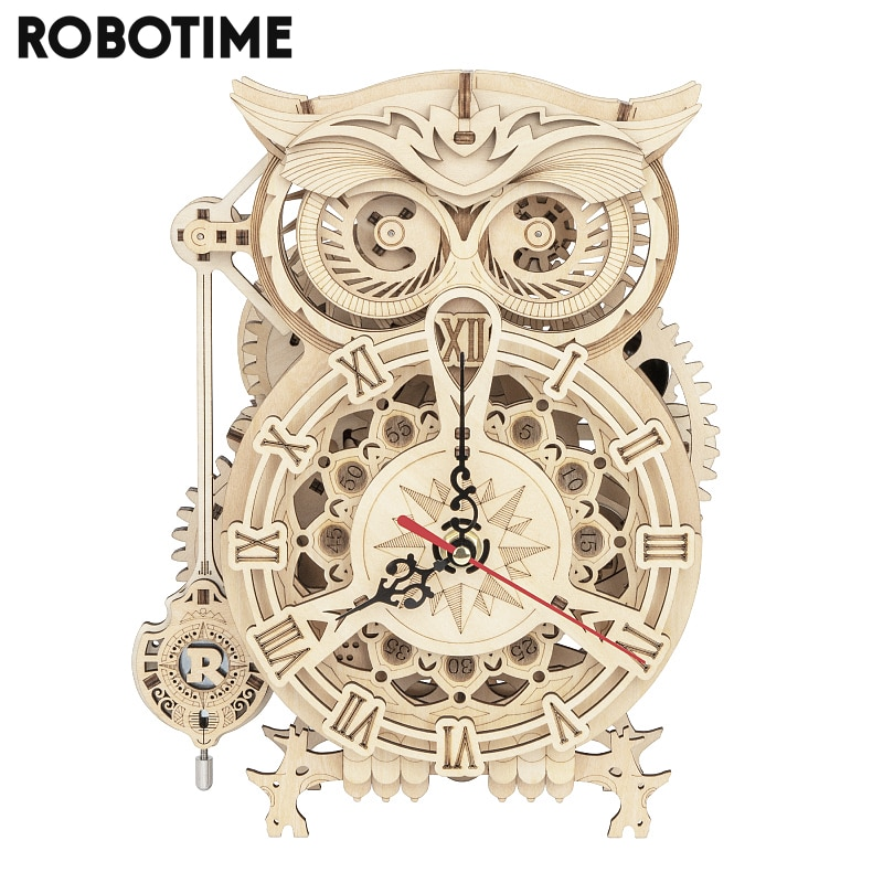 Robotime Rokr 161pcs Creative DIY 3D Owl Clock Wooden Model Building Block Kits Assembly Toy Gift for Children  LK503