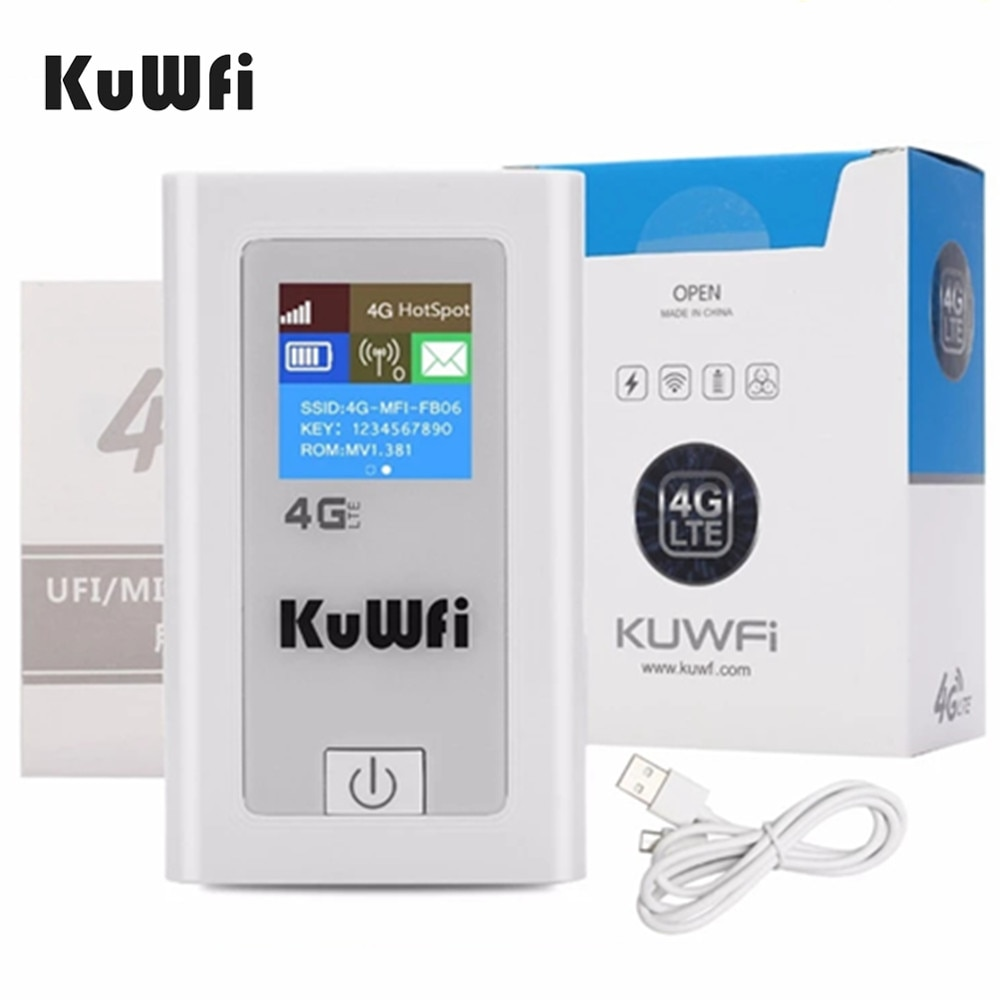 KuWFi Power Bank 4G LTE Router 3G/4G Sim Card Wifi Pocket 150Mbps CAT4 Mobile WiFi Hotspot with SIM Slot